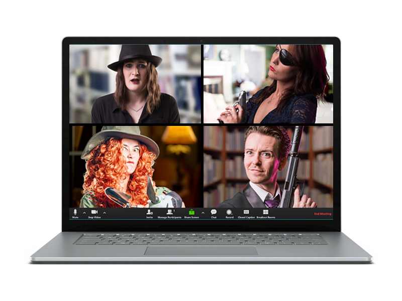 Murder mystery actors on a laptop screen
